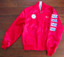 Vtg Corvette Club Austin Texas Red Satin Windbreaker Jacket Size Medium Regular