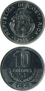 COSTA RICA 10 Colones 2005 UNC (KM# 228b) Aluminium