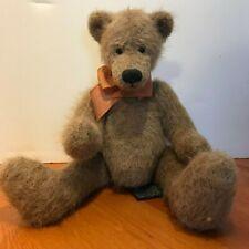 "Russ Coleridge Light Brown & C0Pper Rust Bow 9.5"" Long -Seated Vtg Repro Bear"