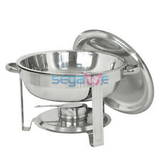Round Chafing Dish 5 Quart Stainless Steel Tray Buffet Catering Warming