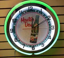 "18"" MOUNTAIN DEW Ya-Hooo! Sign Double Neon Clock It'll Tickle Yore Innards"