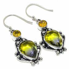 "Ametrine & Citrine Gemstone 925 Sterling Silver Jewelry Earring 1.9"" F2510"