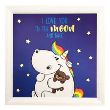 Wandbild Einhorn Pummeleinhorn Sterne Holzrahmen Unicorn Leuchtbild 50x50cm