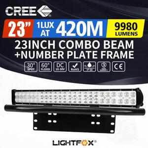 23inch Cree LED Light Bar Spot Flood Combo Beam Driving+Number Plate Frame