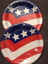 Stars & Stripes American Flag July 4th Holiday Paper Plates Lot Of 2