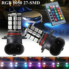 2x 9005 5050 LED 27 SMD RGBW Car Headlight Fog Light Lamp Bulb + Remote Control