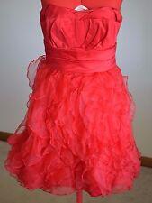 Zac Posen Women Dress Size 3 Red Ruffles 2 Piece Strapless Prom Formal