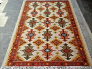 Hand Woven Red Wool Rug Turkish Kilim Dhurrie Afghan Oriental Area Rug 5X8 ft