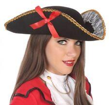 Sombrero TRICORNE De Encaje Negro Cinta PIRATA Disfraz nuevo de mujer Barato 4a7250ec6f30