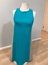 MNG SUIT/ MANGO Lined Cocktail Sleeveless Teal/Nude Dress, M