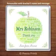 Teacher Nursery Teacher Thank You Gift Personalised Drink Coaster Word Art Apple