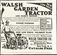 1933 Walsh Garden Tractor & Power Mower Minneapolis Print Ad Power Farming