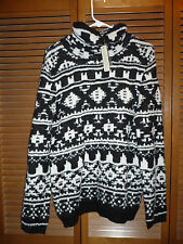 NWT Sonoma KNIT Black/White NORDIC Pattern SWEATER Large $44 Boucle