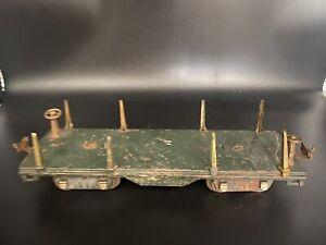 Vintage Lionel  Flat Car Standard Gauge - Tin Plate - Dark Green