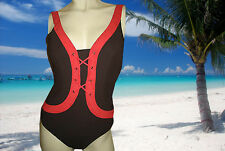 NWT PROFILE BY GOTTEX Brown and Red Lace Up SWIMSUIT BATHING SUIT size - 8