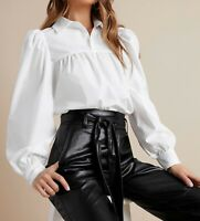 Collared Button Cuff Puff Sleeve Long Sleeve Elegant Shirt Blouse Top Casual