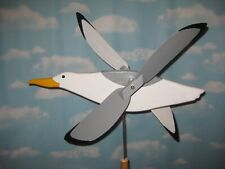 New listing Large Seagull whirligig / carved wood / with mounting post / hand made in Usa
