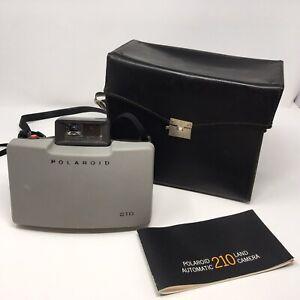 Rare Vintage Polaroid Automatic 210 Land Camera w Genuine Leather Case Manual
