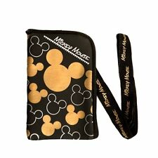 New Disney Mickey Mouse Black Gold Lanyard Cell Phone Id Holder Case Coin Badge