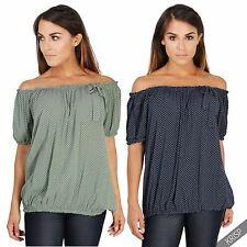 Hip Length Cotton Spotted Tops & Shirts for Women