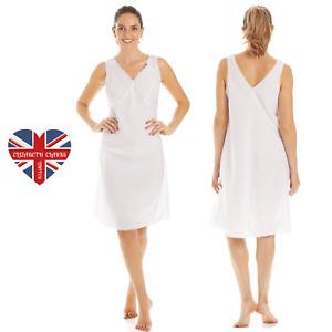 LADIES WHITE FULL SLIP, PETTICOAT, UNDERSKIRT, SOFT, QUALITY, MADE IN UK, 10-24