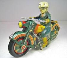 "SATO 1956 Tin Friction Harley Police Motorcycle With Rider 12"" Good Condition"
