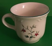 "Pfaltzgraff Winterberry Christmas Coffee Cup / Mug Holly Red Berries 3 1/4"" T"