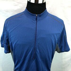 Novara Blue 1/2 Zip Cycling Jersey Mesh Side Three Pocket Shirt Large EE19
