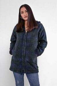 Ladies New Tartan/Check Fleece Hoodie Winter Warm Hooded Coat Long Jacket Green