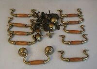 "Lot 10 Vintage Brass Wood Dresser Drawer Pulls Handles w Hardware 4"" Center KBC"
