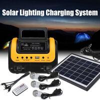 Solar Panel Power Generator LED Lighting System Kit MP3 USB Charger 3 LE AU1