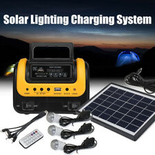 Solar Panel Power Generator LED Lighting System Kit MP3 USB Charger 3 LED Bulbs