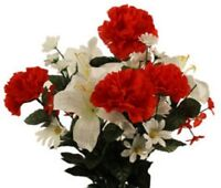 DIY Silk Flower Red Carnation White Lilly Bouquet refill (DIY)
