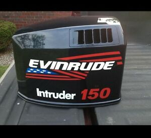 2 - 15 inch Evinrude flag Outboard decals marine vinyl  with intruder 150 decals