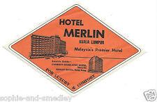 Authentic Vintage Luggage Label ~ Hotel Merlin ~ Kuala Lumpur