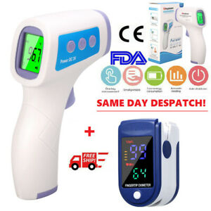 Digital Infrared Forehead Thermometer +Finger Pulse Oximeter LCD Baby Adult Fast