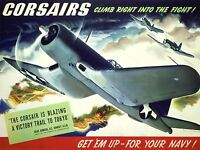 ART PRINT POSTER PROPAGANDA WWII WAR CORSAIR USA NAVY PLANE NOFL1009
