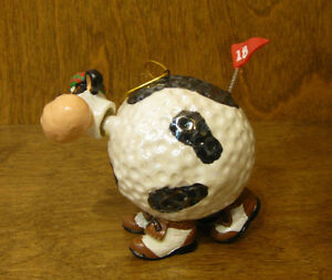 "ANIMAL ANTICS #4459-5 COW ORNAMENT BOBBLE HEAD, 3.25"" by RANGER, Ceramic, Golf"