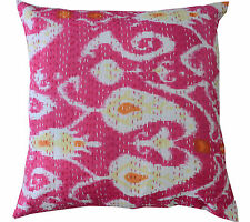 """Indian Handmade Kantha Stitch Cushion Cover Paisley Pillow Case Ethnic 16"""""""