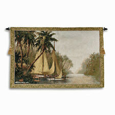 Rum Cay ~ Tropical Port & Palm Trees Grande Tapestry Wall Hanging