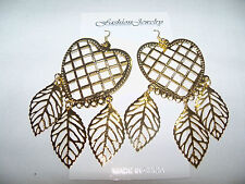 NEW GYPSY STYLE HEART DANGLE GOLD TONE METAL PIERCED EARRINGS /  .NICE