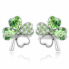 4 Leaf Clover Flower Green Earrings use Swarovski Crystal SE518