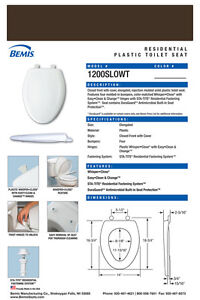 Bemis 1200SLOWT-248 Elongated Plastic Slow Close Toilet Seat - Expresso Brown