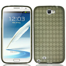Samsung Galaxy Note II 2 TPU CANDY Flexi Gel Skin Case Phone Cover Smoke Plaid