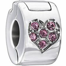 1430-0009 Authentic Chamilia Jeweled Heart Lock - Pink Charm Bead NEW Gift Boxed