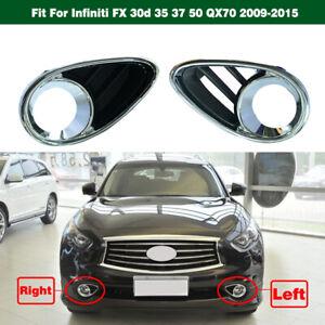 1PAIR Chrome Fog Light Cover Bezels for Infiniti FX 30d 35 37 50 QX70 2009-2015