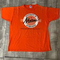 RARE Vintage Miami Hurricanes 1988 Champs Script NCAA Orange Bowl Shirt Mens XL