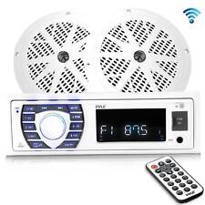 "Bluetooth Marine Receiver Stereo Kit (2) 5.25"" Waterproof Speakers (White)"