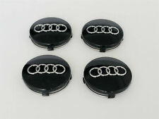 4x60mm Audi Black Wheel Center Caps Hubcaps Emblems Rim Caps Badges 4B0601170