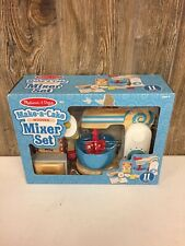 Melissa & Doug Wooden Make-a-Cake Mixer Set Kitchen Toy, Numbered Turning Dials